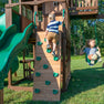 Skyfort With Tube Slide Wooden Swing Set Rock Wall