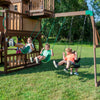 Skyfort With Tube Slide Wooden Swing Set Swings