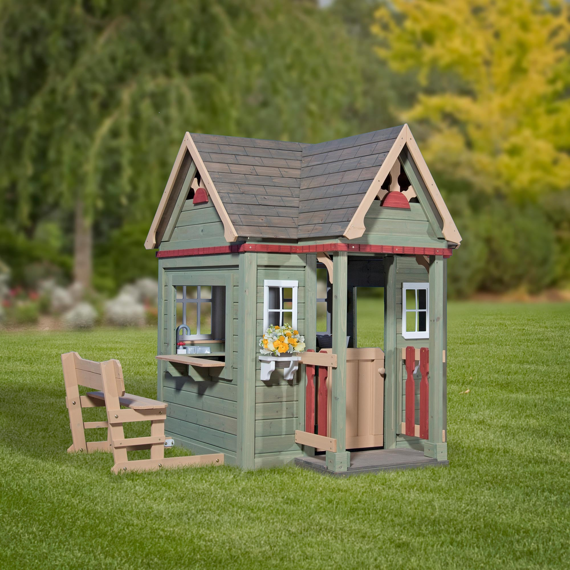 Backyard Discovery Cedar Playhouse Victorian Inn Wooden Playhouse Backyard  Discovery . Backyard Discovery Cedar Playhouse ...