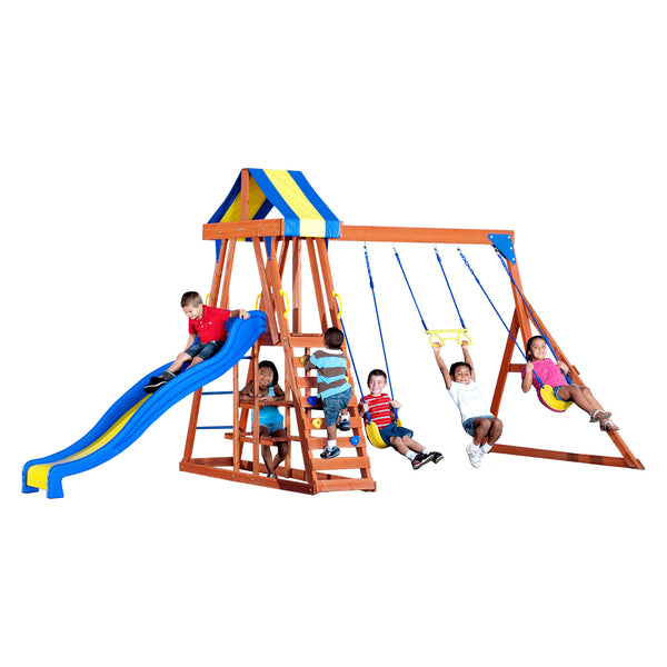 Backyard Discovery Playsets - Yukon III Wooden Swing Set #features