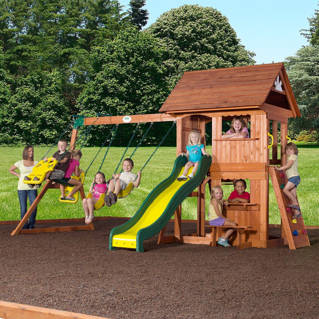 backyard discovery playsets alpine wooden swing set with assembly header features - Cedar Playsets