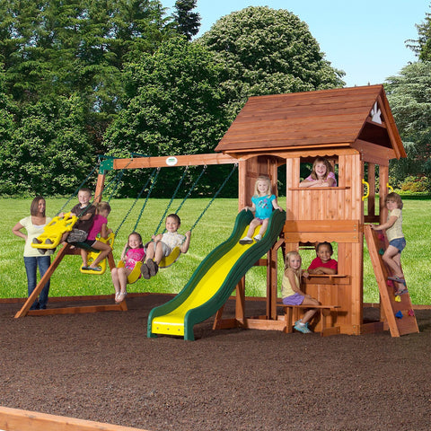 Backyard Discovery Playsets - Alpine Wooden Swing Set With Assembly #header  #features