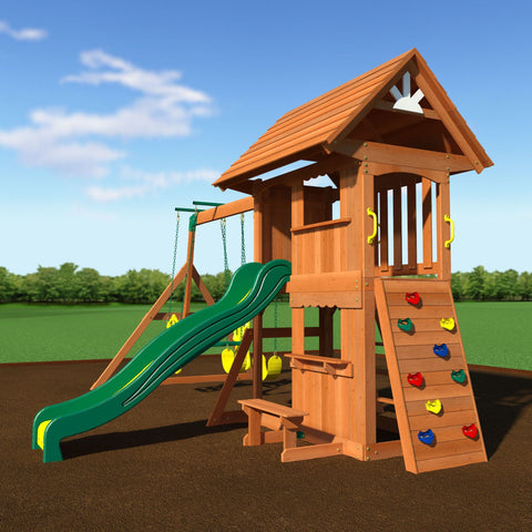 Backyard Discovery Playsets - Alpine Wooden Swing Set With Assembly #features