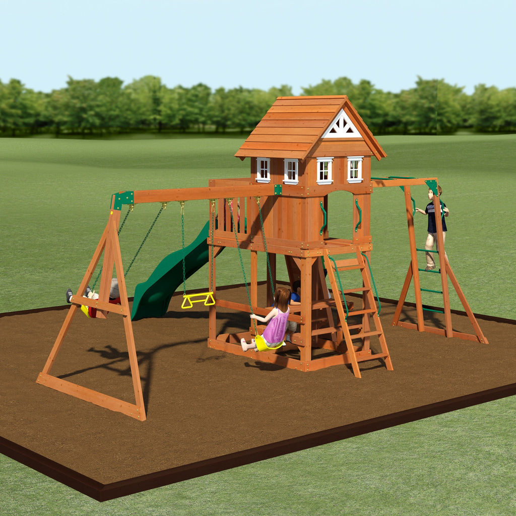 Backyard Discovery Playsets   Adventurer Wooden Swing Set