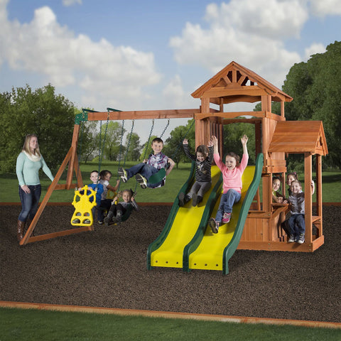 Backyard Discovery Playsets - Cedar Play Park Wooden Swing Set #header #features