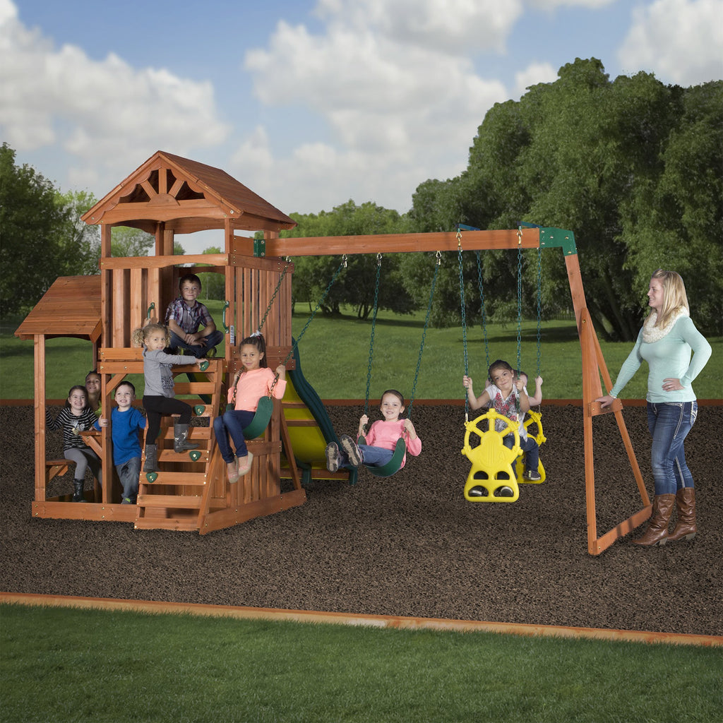 cedar swing sets triumph play bailey wooden swing set with tire