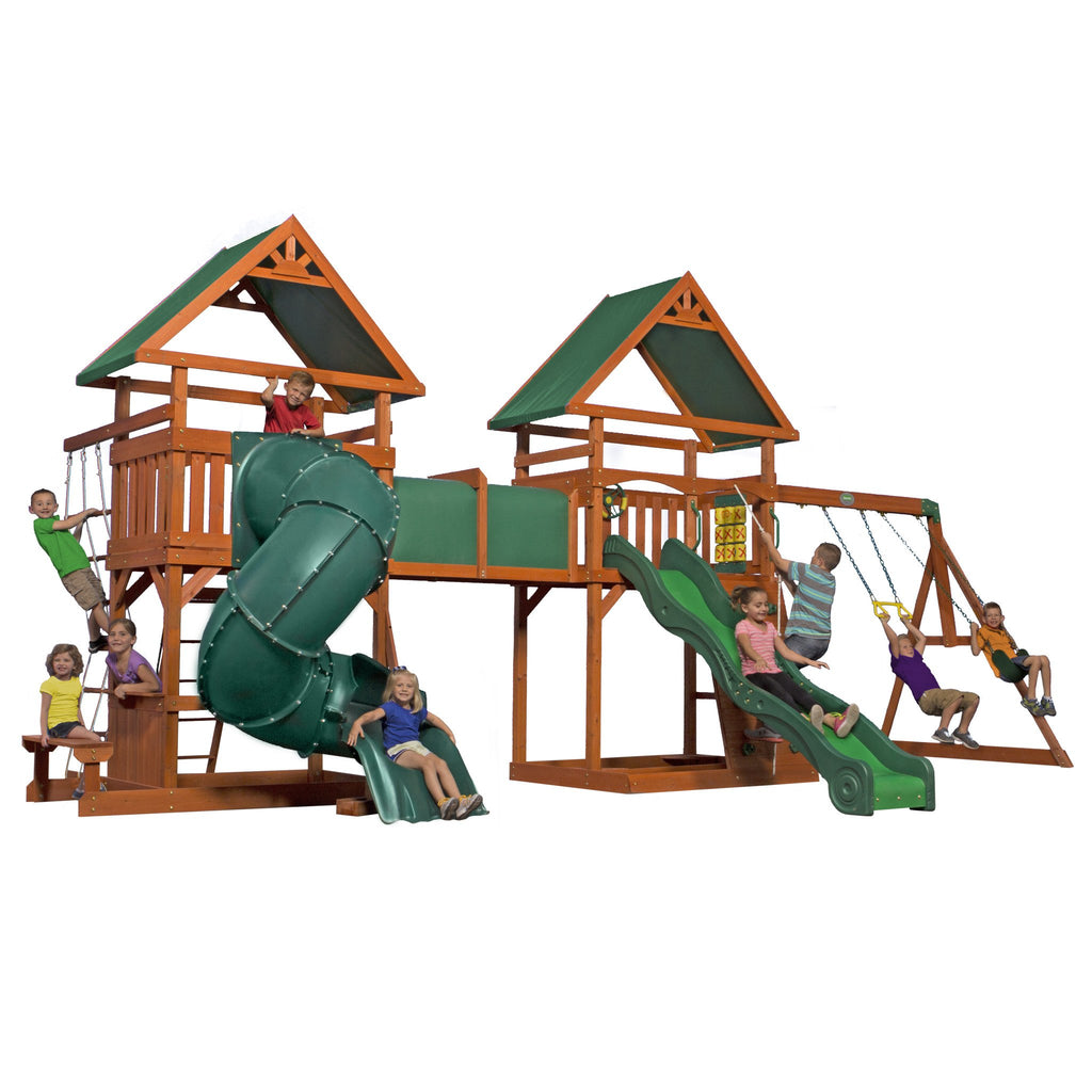 grand towers wooden swing set backyard discovery