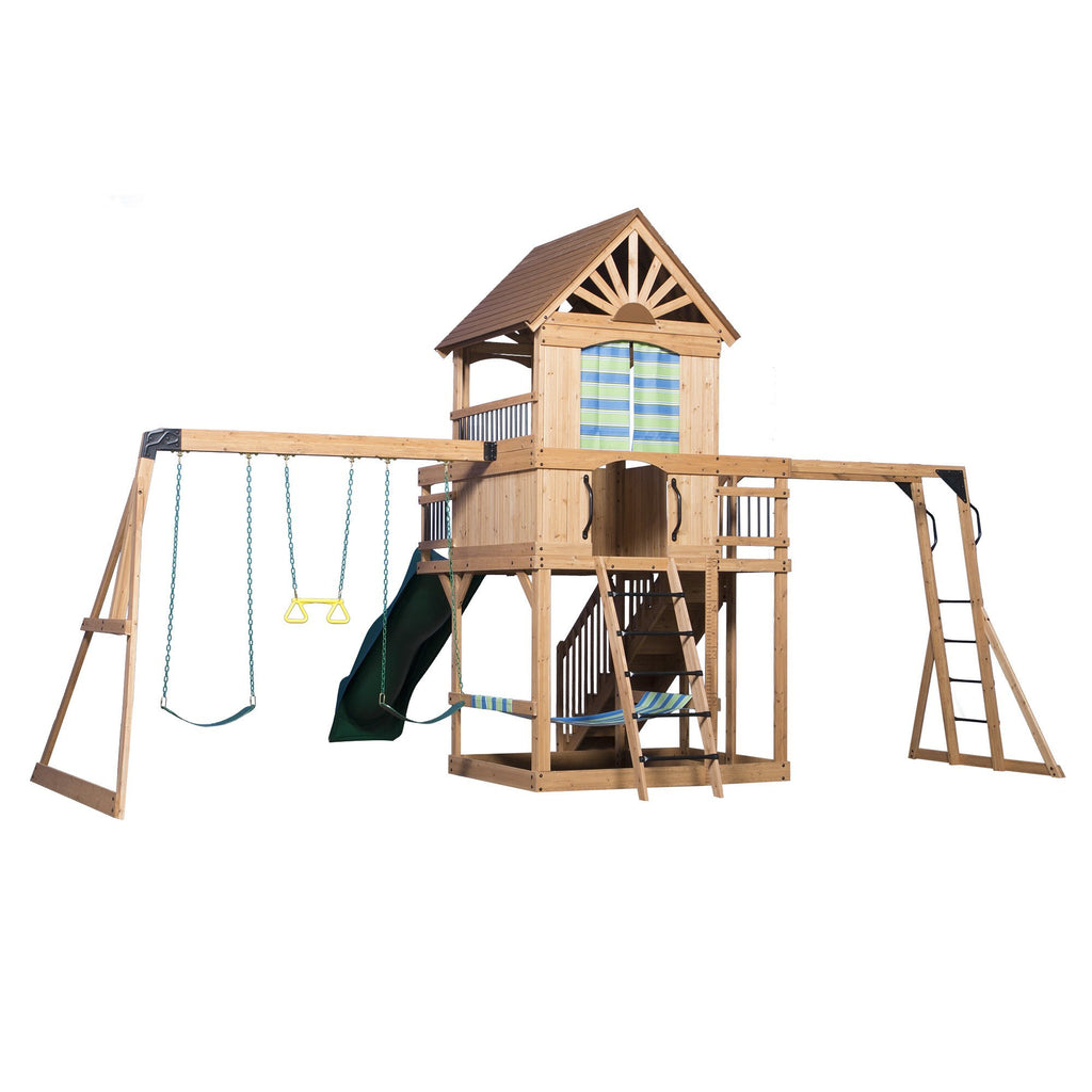 Oceanview Wooden Swing Set - Playsets | Backyard Discovery