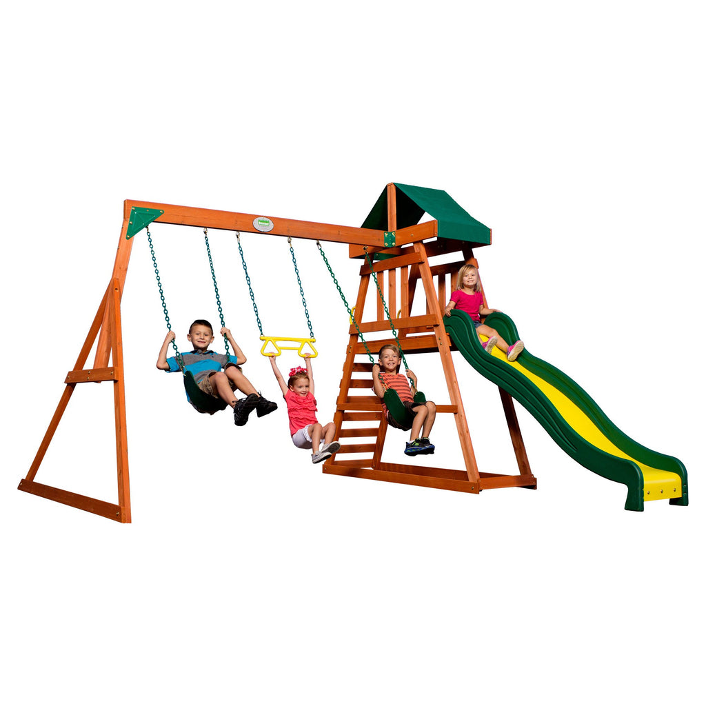 Prescott Wooden Swing Set - Playsets | Backyard Discovery