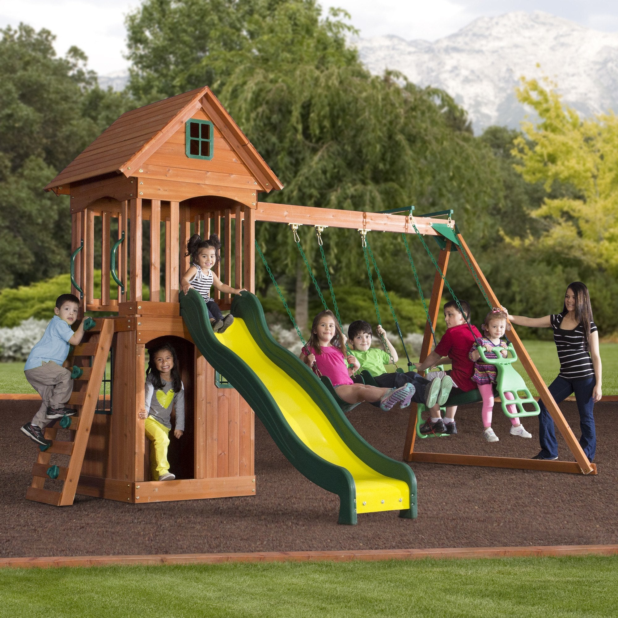 springwood wooden swing set playsets backyard discovery