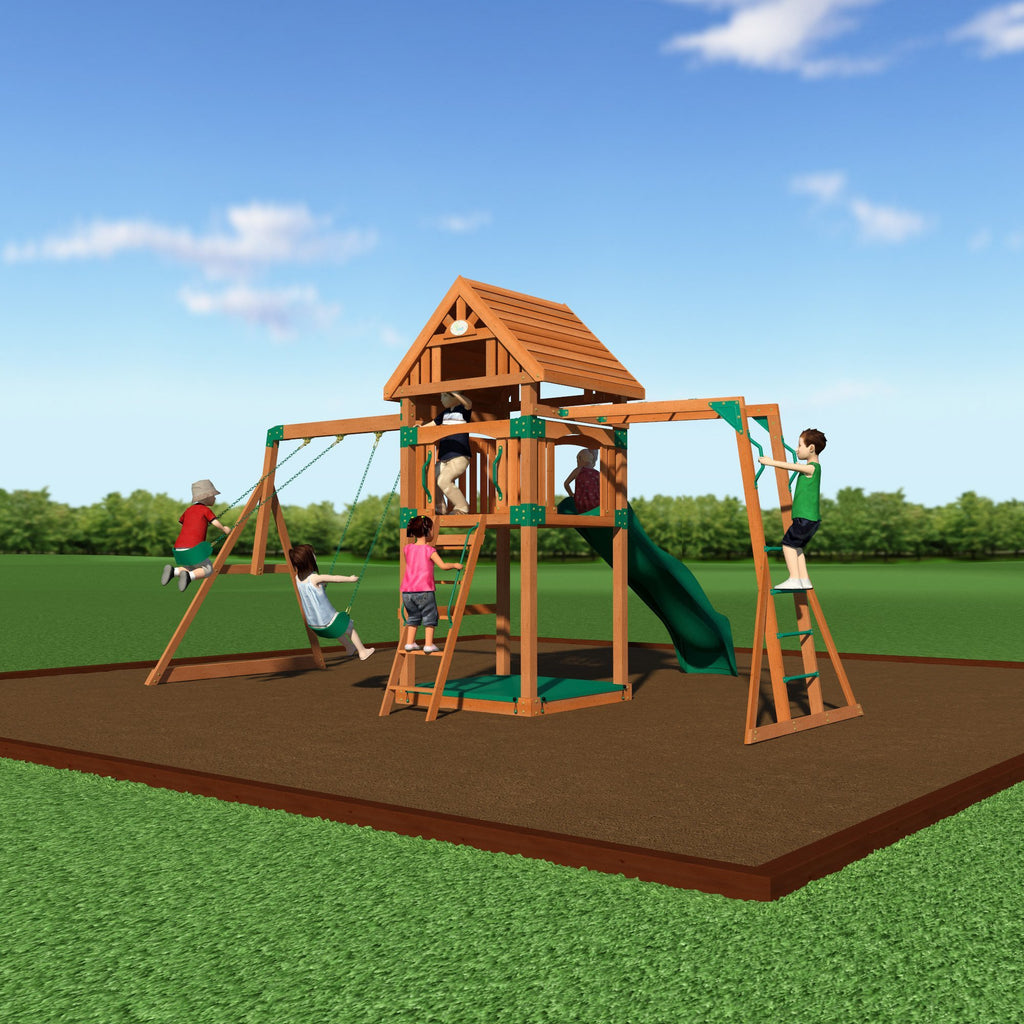 capitol peak wooden swing set backyard discovery