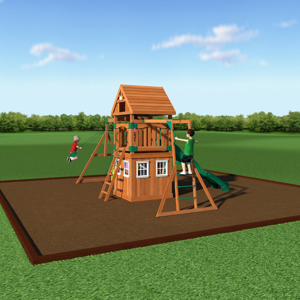 Backyard Odyssey Swing Sets   Castle Peak Wooden Swing Set