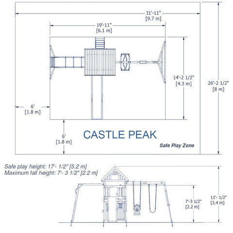 Backyard Odyssey Swing Sets - Castle Peak Wooden Swing Set #details