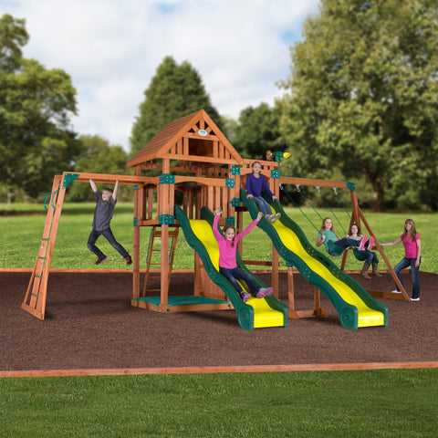Backyard Odyssey Swing Sets - Crestwood Wooden Swing Set #header #features