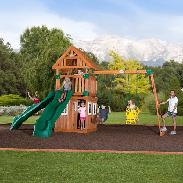 Backyard Odyssey Swing Sets - Outing Wooden Swing Set  #header #features