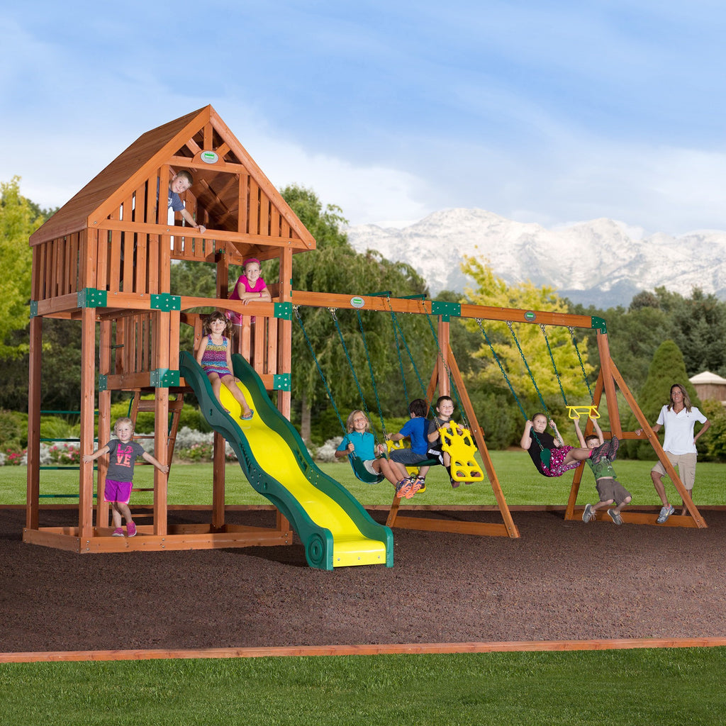 backyard odyssey swing sets quest wooden swing set header features