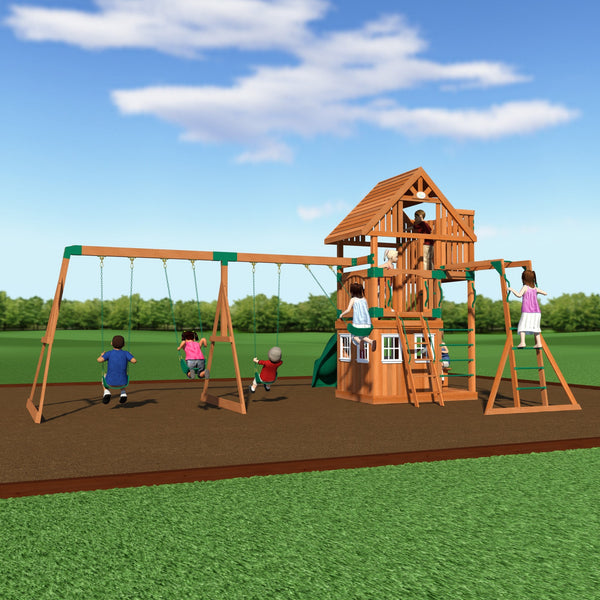 wanderer wooden swing set playsets backyard discovery