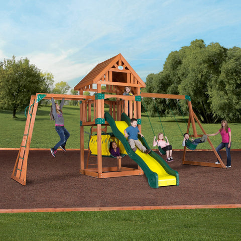 Nla - Flagstone Peak Wooden Swing Set #header #features