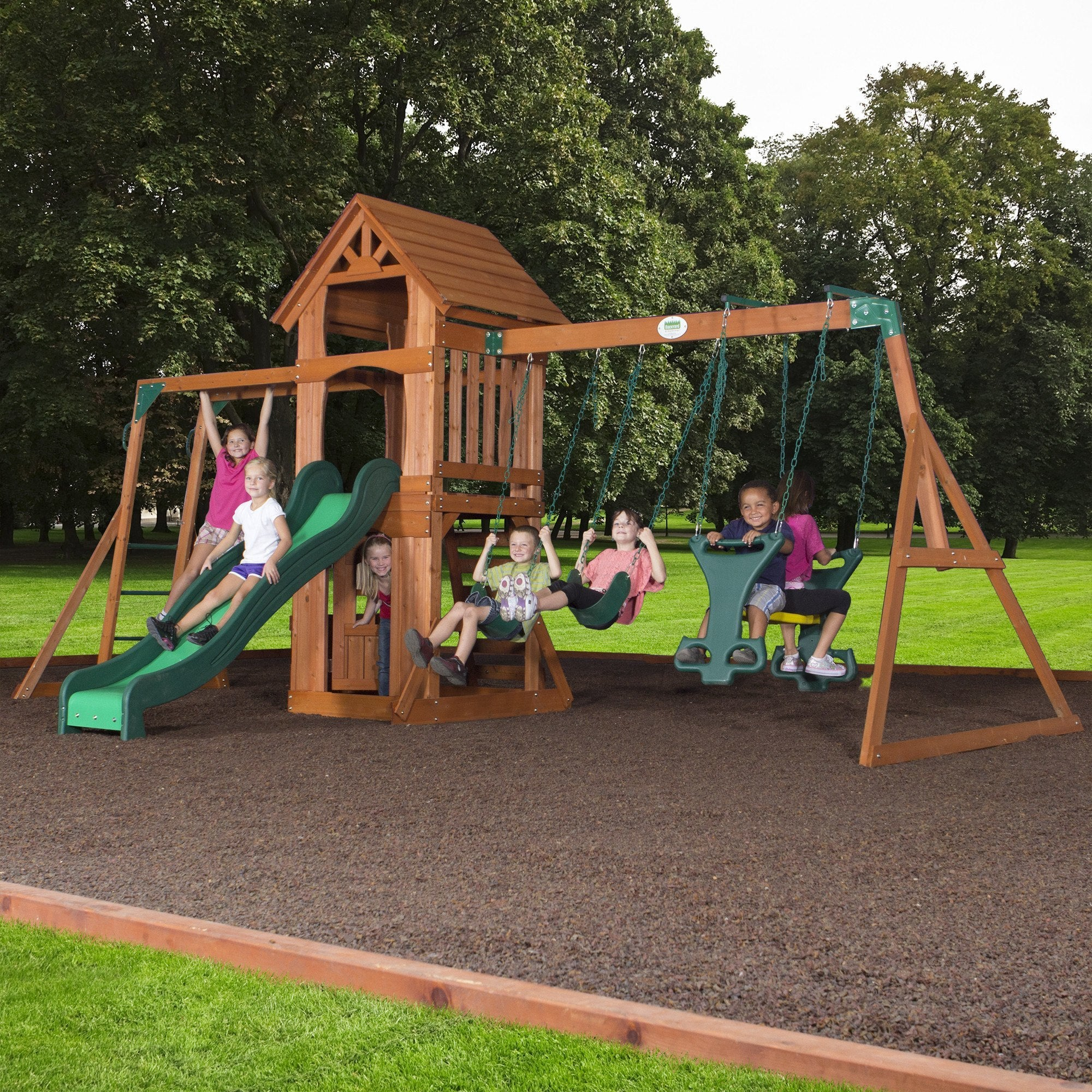 sonora wooden swing set playsets backyard discovery. Black Bedroom Furniture Sets. Home Design Ideas