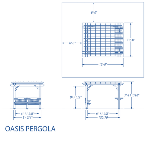 Patio Products - Oasis Pergola 10 X 12 Pergola #details