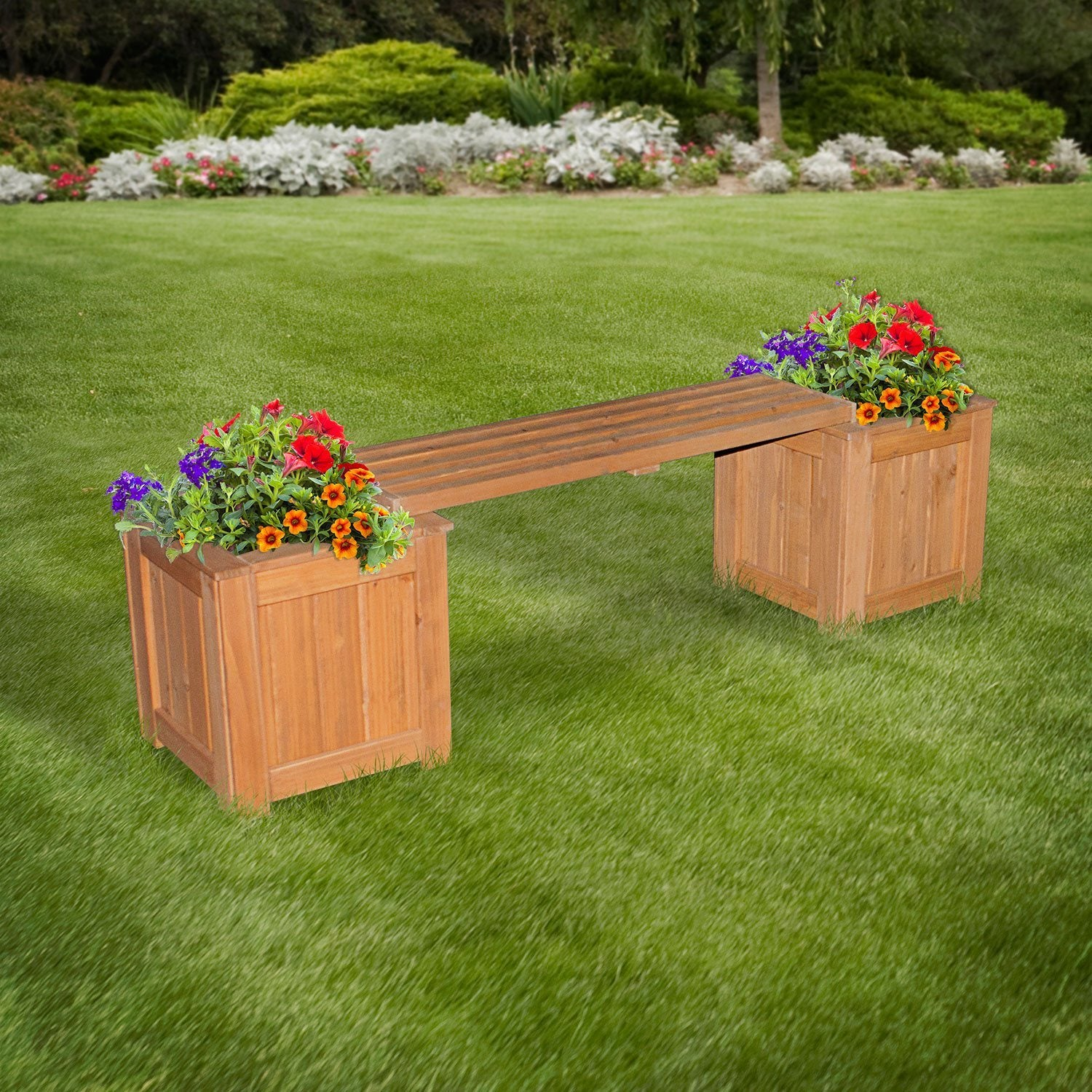 Patio Bench With Planters Patio Backyard Discovery