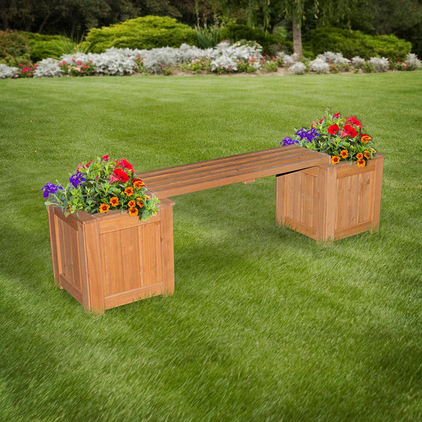Attractive Patio Bench With Planters