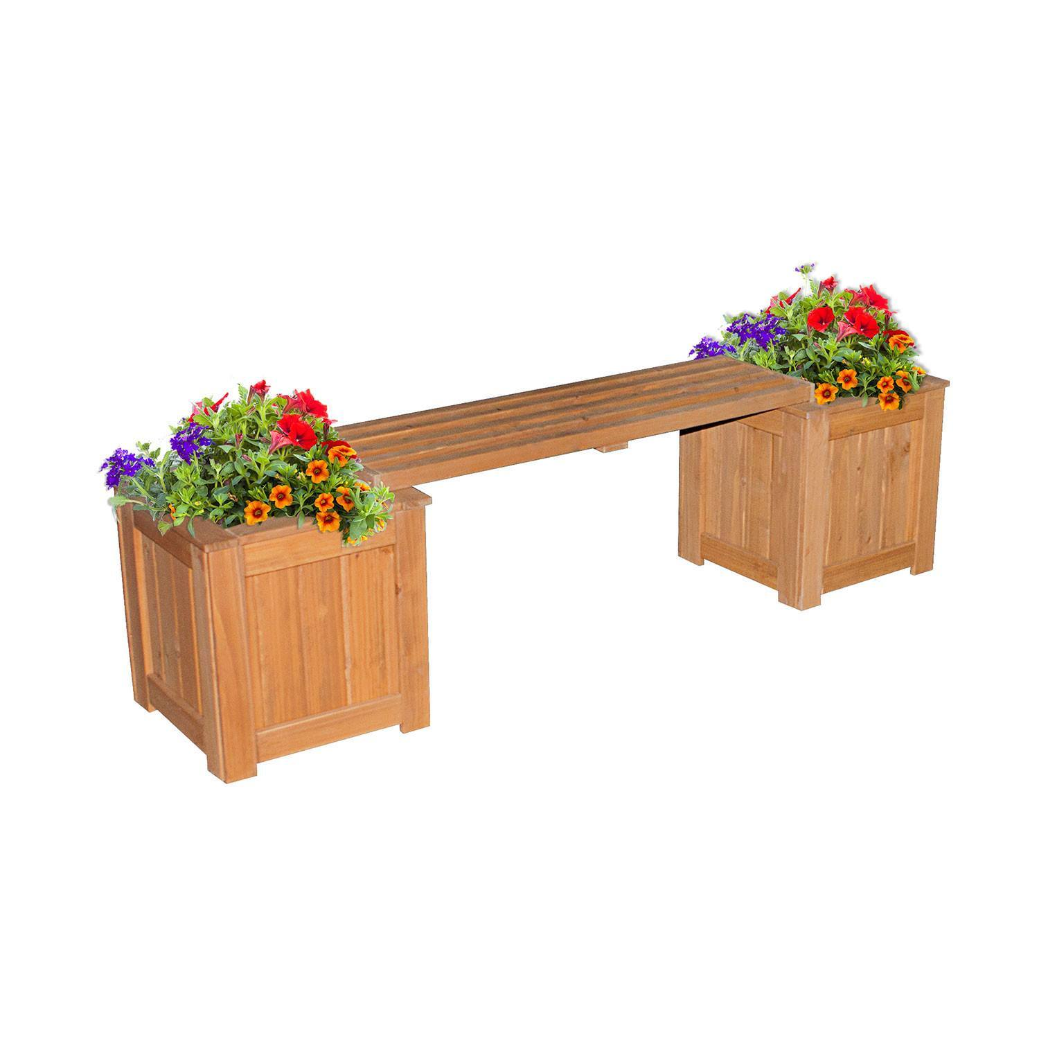 Patio bench with planters patio backyard discovery Patio products