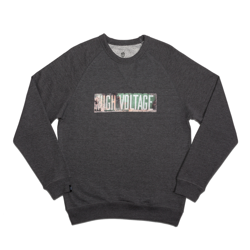 HIGH VOLTAGE FRENCH TERRY CREWNECK [CHARCOAL]