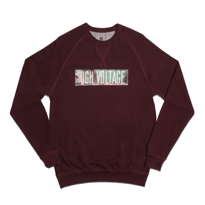 HIGH VOLTAGE FRENCH TERRY CREWNECK [BURGUNDY]