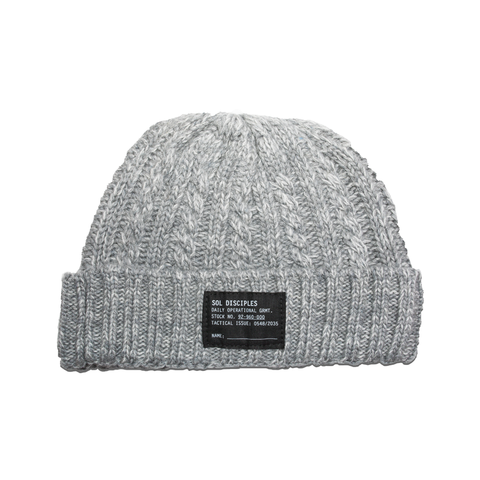 SURPLUS CABLE KNIT BEANIE [HEATHER GREY]