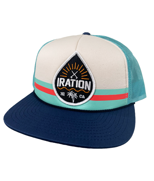 Striped Drop Trucker - Aqua