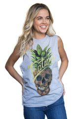 Women's Grey Pineskull Tank