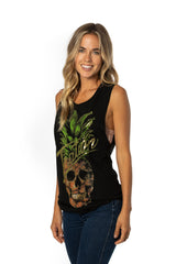 Women's Gold Foil Pineskull Tank