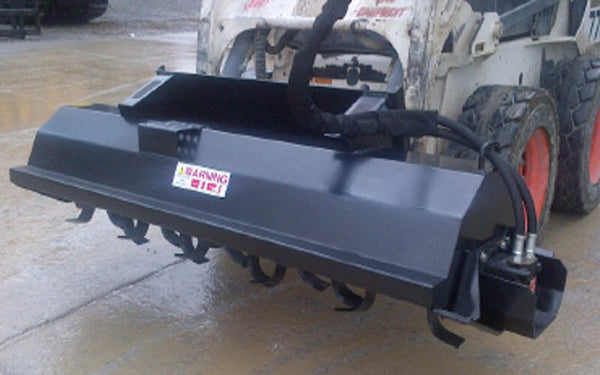 "Skid Steer TILLER 76"" - Universal Mount - 6"" Depth - Rotates Forward and Reverse"
