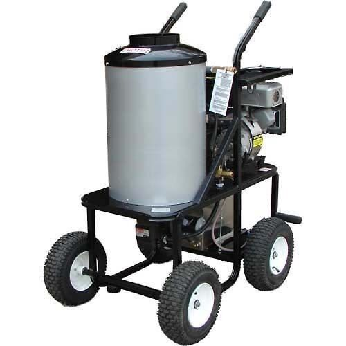 PORTABLE Hot Water Pressure Washer - Gas - 1.4 Gal - Wheels - 3,000 PSI - 18 HP