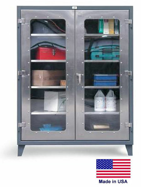 "STAINLESS STEEL CABINET - See Through Windows - 66""H x 24""D x 48""W - Shelves 3"
