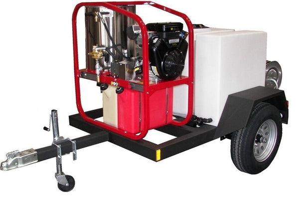 Commercial Hot Pressure Washer & Trailer - 200 Gallons  - 3,000 PSI - 4.8 GPM