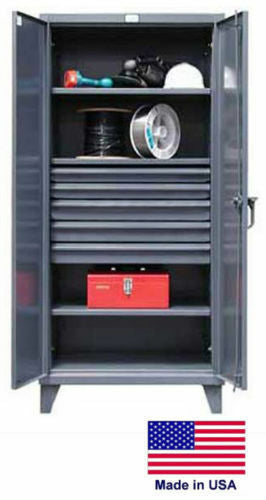 "STEEL CABINET - Commercial Duty - 3 Shelves & 5 Drawers - 78"" H x 24"" D x 36"" W"