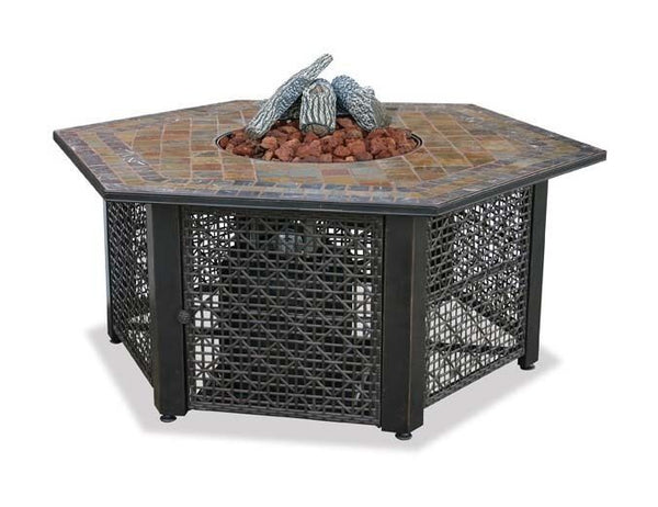Propane Fire Pit Table - 30,000 BTU - Hexagon Slate Tile Mantel - Rocks & Glass