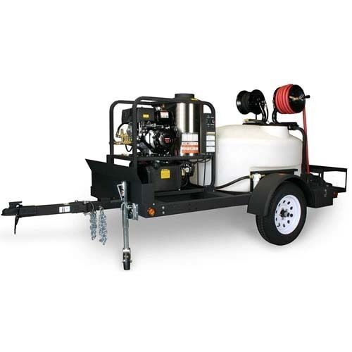 Hot Water Pressure Washer & Trailer - Gas - 3500 PSI - 3.5 GPM - 12v DC - Belt