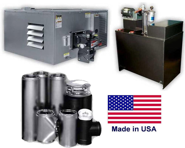Waste Oil Heater - 200,000 BTU - 80 Gallon Tank - ROOF Chimney Kit - 5,000 sq ft