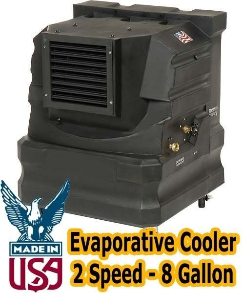 Portable Evaporative Cooler - Direct Drive - 2 Speed - 8 Gallon - Industrial