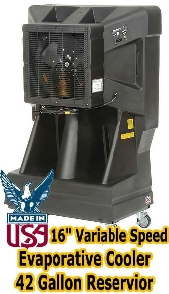 "Portable Evaporative Cooler - 16"" Variable Speed - 42 Gallon Reservoir 900 sqft"