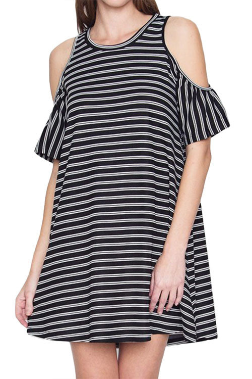 Stripe Cold Shoulder Dress