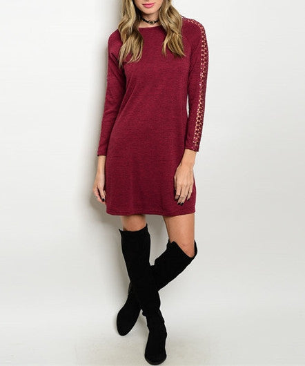 Sequin Accent 3/4 Sleeve Dress