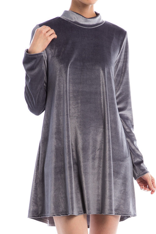 Velvet Mock Neck Dress