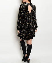 Velvet Floral Mock Neck Dress