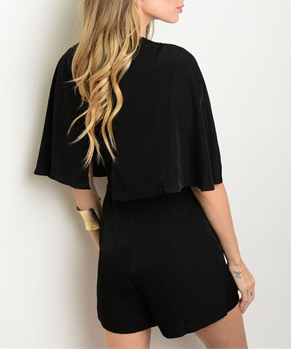 Lace Up Capelet Romper