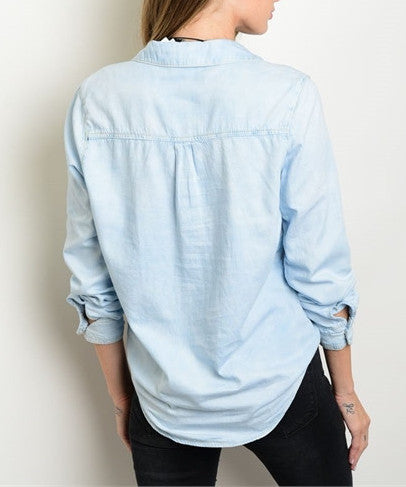 Light Blue Denim Top