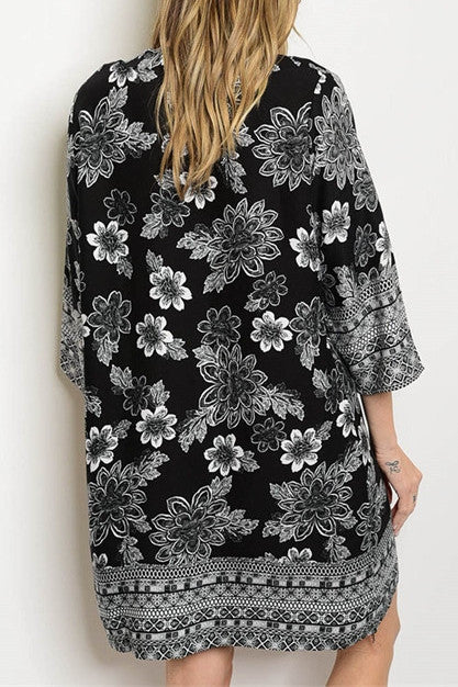 3/4 Sleeve Floral Shift Dress